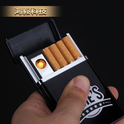 SDiN创意烟盒带usb打火机充电高档时尚礼品防压烟盒男士礼品订制