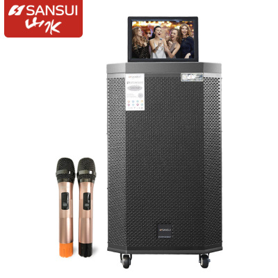 山水SA2-15戶外音響帶顯示屏wifi家用K歌視頻播放器卡拉ok歌大功率廣場舞音箱大屏幕移動便攜式一體機15英寸