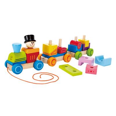 Hape几何积木火车模型儿童玩具宝宝益智积木拆装组装年龄段1-3岁木制男孩女孩玩具