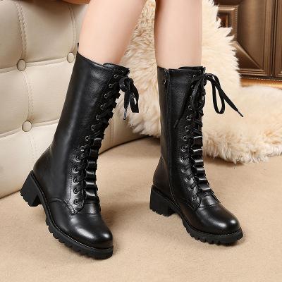 馬丁靴女2020真皮加絨棉鞋新款中筒女鞋英倫風休閑鞋高筒韓版雪地皮靴子百搭短靴女靴時尚鞋子女
