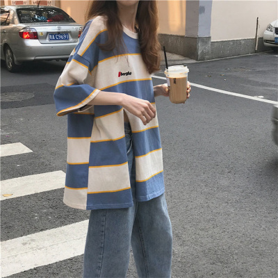 2020新款夏季條紋短袖T恤女學生韓版寬松bf風半袖中長款ins上衣潮莎丞(SHACHEN)