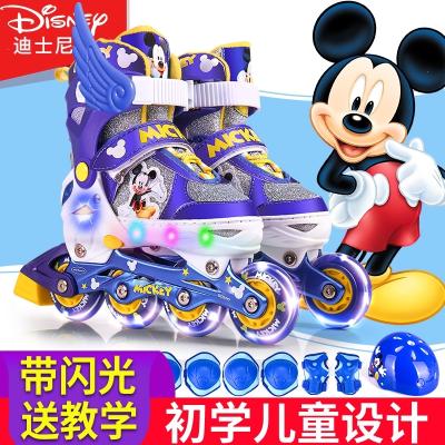 迪士尼溜冰鞋儿童全套装男女旱冰鞋3-5-6-8-10岁轮滑鞋初学者闪光