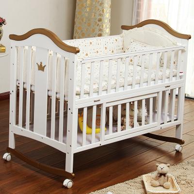 呵宝HOPE 婴儿床原木白色实木欧式婴儿床宝宝摇床带滚轮多功能松木加大游戏bb床净重23KG 120*65cm其他