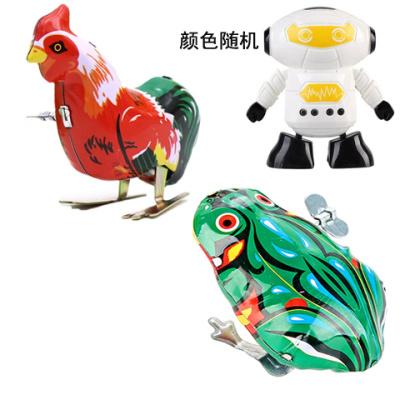 函夏 80后經典懷舊玩具上鏈發條鐵皮青蛙 跳跳蛙 鐵皮公雞老鼠兔子玩具 1個機器人+1只青蛙+1只公雞