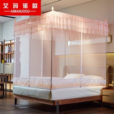 艾瑪諾歐家紡 歐式宮廷方頂坐床式不銹鋼支架蚊帳 簡約風T型三開門拉鏈宮廷蚊帳1.5米1.8米