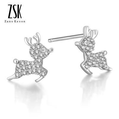 ZSK珠寶 銀飾 純銀耳釘女士小鹿一鹿有你首飾耳環日韓耳飾品女生生日禮物節日 送女友送老婆 925銀 圣誕節禮物 定價