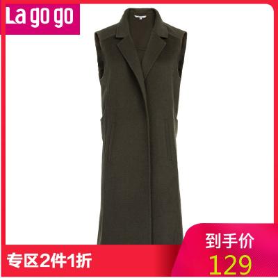 Lagogo/拉谷谷直筒純色西裝領口馬甲GAWW13B906!