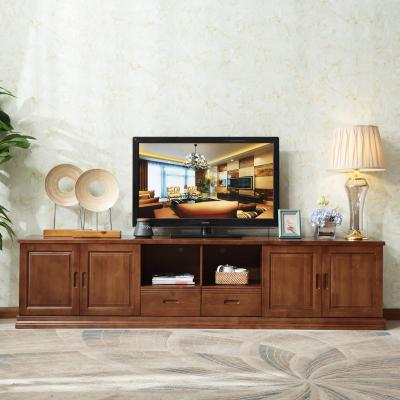 现代简约实木电视柜2.4米 实木地柜 大客厅柜 高柜影视柜带抽屉长柜子卧室