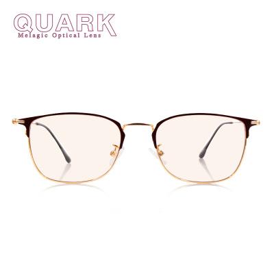 美國QuarK防藍光眼鏡新品防紫外線防輻射防眼干澀眼疲勞黑色素電腦手機眼鏡超輕全框金屬眉線框棕金配色男女日夜通用