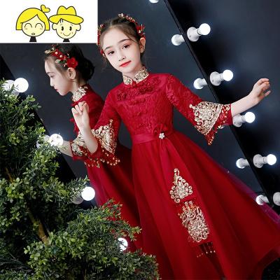 儿童中式礼服公主裙女童汉服旗袍中国风拜年服唐装过年装秋冬加厚  绿彩虹光