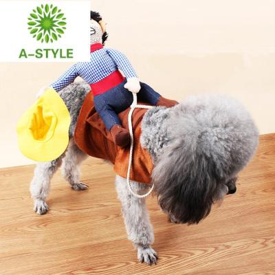 抖音同款寵物搞笑騎馬裝帽子牛仔騎士裝背上騎小人搞怪狗狗衣服