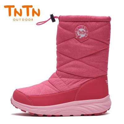 TNTN户外冬季保暖防水厚底俄罗斯东北羊毛加绒男女鞋雪乡地棉靴子(优雅粉)