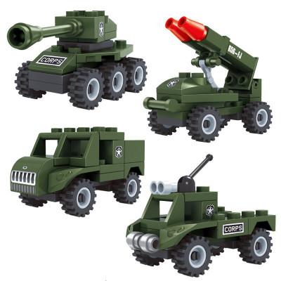巧樂童軍事積木 塑料積木立體拼插微小積木玩具挖掘機工程車消防車警車飛機坦克導彈軍事戰車 拼裝3合一 4盒全套軍事系列