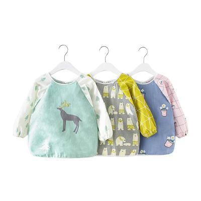 全包纯棉宝宝吃饭兜罩衣男女孩儿童围兜裙护衣反穿衣防水秋冬薄款