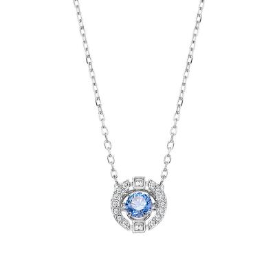 施華洛世奇(SWAROVSKI) 藍色跳動的心水晶項鏈 女士 人造水晶 送戀人5279425