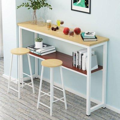 尋木匠吧臺餐桌一體高腳長桌家用陽臺靠墻簡約吧臺桌客廳創意小桌椅組合