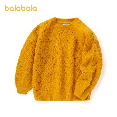 巴拉巴拉女童毛衣2020新款秋裝薄款兒童針織衫女大童鏤空套頭毛衫