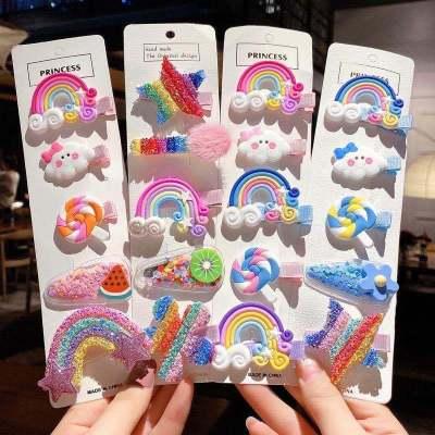 飛言韓國兒童發卡女公主寶寶可愛糖果色發飾網紅彩虹小發夾邊夾子頭飾