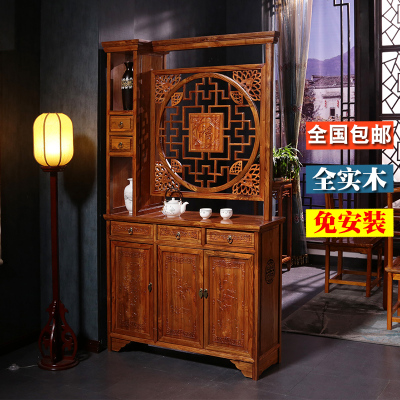 新中式玄關柜雙面雕花榆木客廳隔斷柜實木鞋柜廳屏風柜酒柜