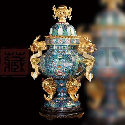 中国工艺美术师张同禄景泰蓝国宝《盛世六和如意炉》