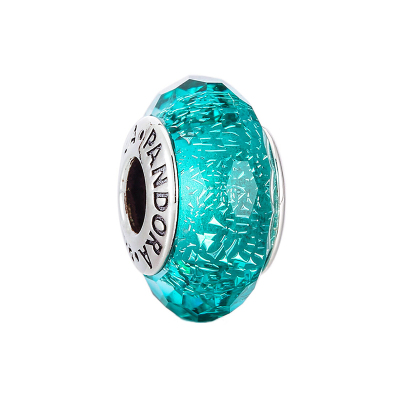 PANDORA潘多拉 亮青色闪烁琉璃 925银琉璃串饰-791655