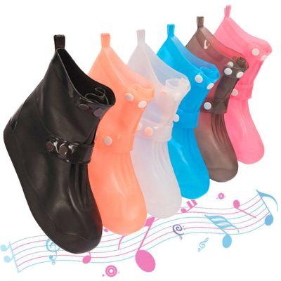 雨鞋套中筒男女徒步時尚防雨鞋套加厚中大童雨天防水鞋套防滑耐磨底