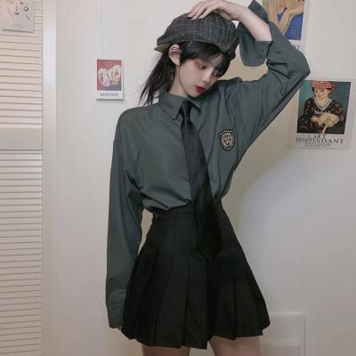 jk制服裙正版黑色領帶徽章襯衣女學生裝學院風套裝兩件套班服校服