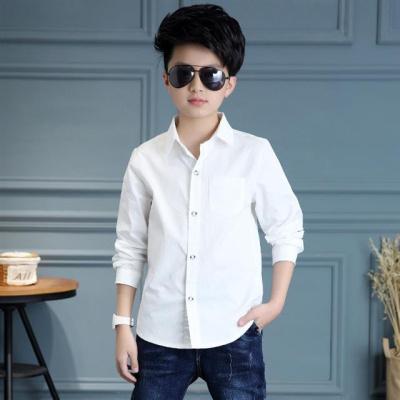 男童白襯衫長袖純棉寸村白色襯衣男孩兒童裝中大童正裝校服小學生臻依緣