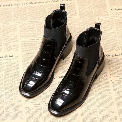 歐洲站鱷魚紋靴子女短靴2020新款春秋切爾西靴粗跟馬丁靴女鞋 莎丞 莎丞(SHACHEN)