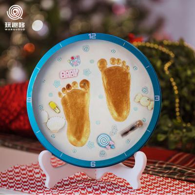 玩趣哆WANQUDUO寶寶手足印泥手腳印手印新生嬰兒童胎毛紀念品永久滿月百天禮物礦物泥LA-20白泥