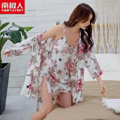 NanJiren【南極人】春夏秋女士吊帶睡裙絲質性感睡袍浴袍兩件套 舒適性感