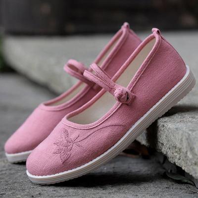 春款繡花鞋老北京布鞋女民族風漢服軟底單鞋古風跳舞鞋