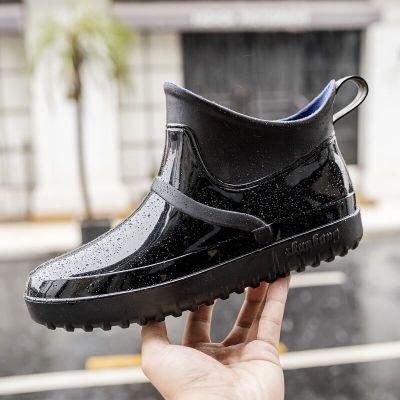 雨鞋男低幫韓國時尚潮流膠鞋四季防滑防水鞋成人雨靴男士短筒套鞋 臻澀