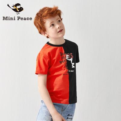 太平鸟童装男童短袖T恤红与黑撞色拼接儿童半袖体恤夏装新款