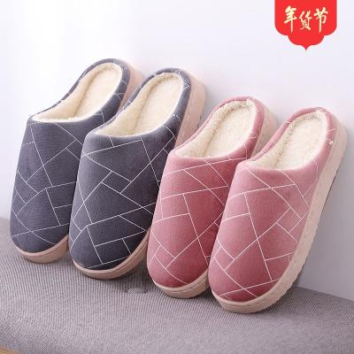 几何图形室内居家男女情侣木地板居家保暖防滑秋冬棉拖鞋