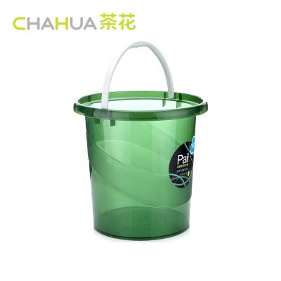 茶花水桶塑料加厚家用欧式洗车桶手提装水储水桶洗澡桶11L提水桶巧提手宽边水桶-S 0249 颜色随机