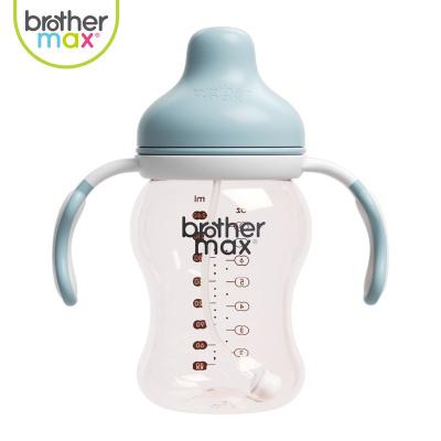 BROTHER MAX麥斯兄弟原裝進口寶寶ppsu寬口徑帶吸管手柄新生兒嬰兒防摔防脹氣兒童奶瓶藍色240ml