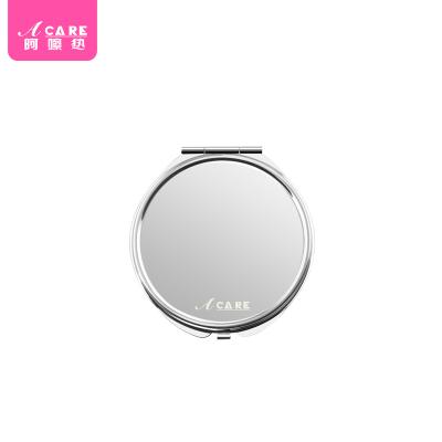 acare艾呵 隨身小圓鏡 便攜圓形化妝鏡 不銹鋼可折疊美妝鏡 可愛雙面放大鏡子韓國