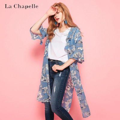 拉夏貝爾puella夏季新款韓版百搭時尚中長款襯衫外套女20010739
