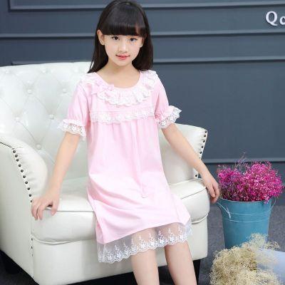 兒童夏季女童睡裙夏裝新款蕾絲短袖家居服胖妹妹春夏睡裙 纖婗(QIANNI)