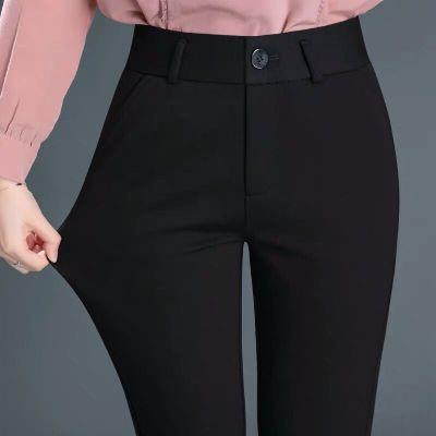 彈力上班西褲女直筒工作褲正裝褲職業女士西裝褲黑色小腳褲OL 暖青匯職業女褲套裝
