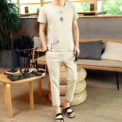 古仕卡特GUSSKATER 夏季 新款中國風 刺繡棉麻九分褲T恤套裝