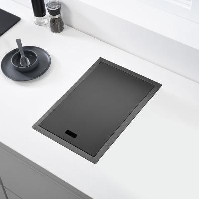 黑色吧臺洗菜盆隱藏式不銹鋼法耐手工單槽中島小水盆陽臺水池隱形水槽