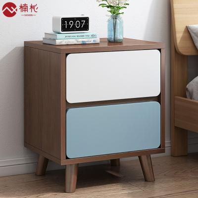 楠杺 簡約現代床頭柜北歐臥室置物架小型床邊小柜子簡易迷你收納儲物柜