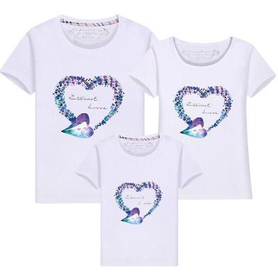 2019夏季薄款新款一家三口四口親子裝短袖T恤夏裝加大碼母女全家庭裝棉混紡布 威珺