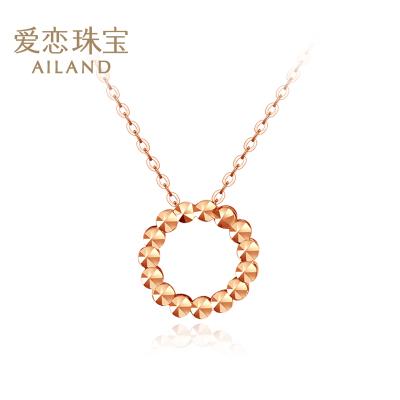 愛戀珠寶 18k金彩金玫瑰金女士項鏈 簡約圓圈淑女氣質鎖骨鏈套鏈【花照鎖骨鏈】