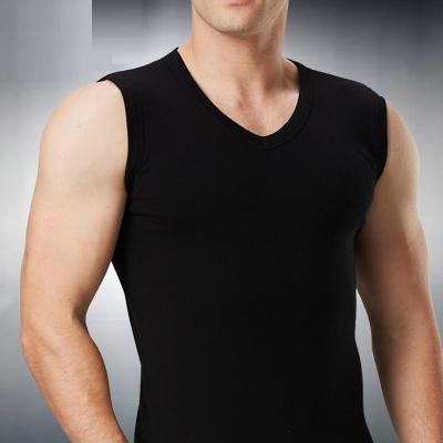 男士背心纯棉青年坎肩短袖打底汗衫无袖宽肩修身型V领运动紧身夏常规 威珺