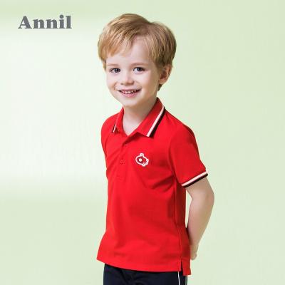 安奈儿童装夏装新款男小童短袖经典萌趣翻领T恤