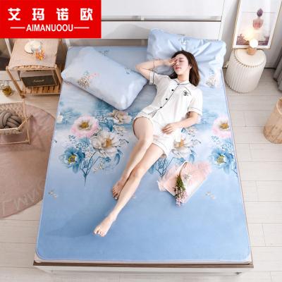艾瑪諾歐家紡 夏季可水洗冰感絲軟席三件套可折疊1.8米床冰絲席三件套1.5米涼席套件空調席子