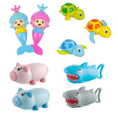 港比熊寶寶洗澡玩具兒童沐浴小孩浴室游泳戲水小烏龜男孩女孩玩具(1美人魚1烏龜1小豬1鯊魚)